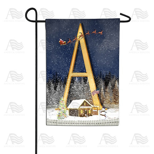Santa Is Coming Double Sided Monogram Garden Flag