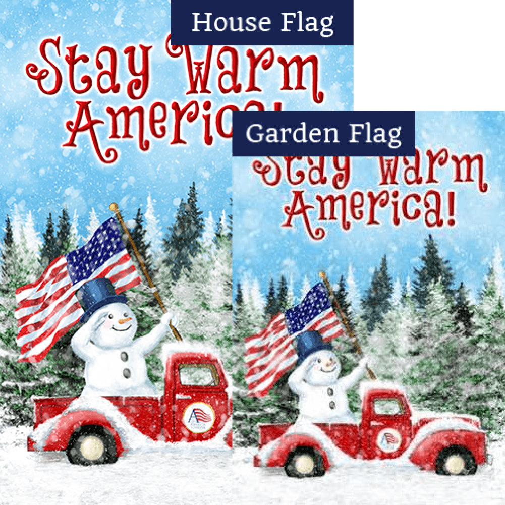 Stay Warm America Double Sided Flags Set (2 Pieces)