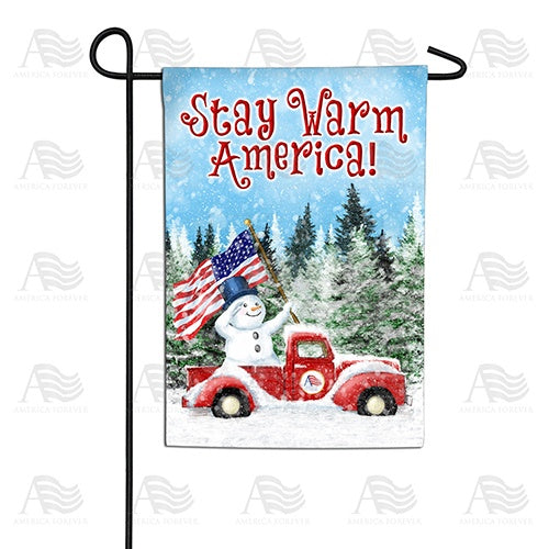 Stay Warm America Double Sided Garden Flag