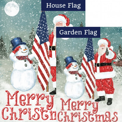 Merry Christmas USA Double Sided Flags Set (2 Pieces)