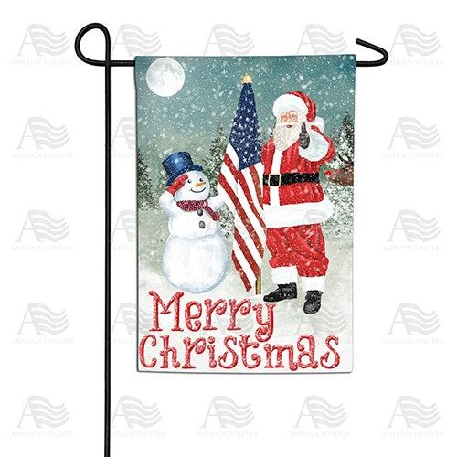 Merry Christmas USA Double Sided Garden Flag
