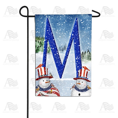 Uncle Snowman Double Sided Monogram Garden Flag