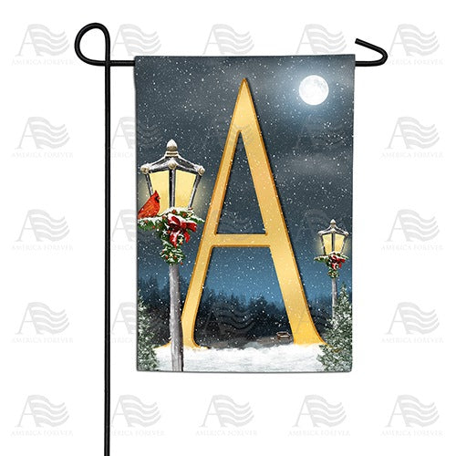 Winter Lamp Warmth Double Sided Monogram Garden Flag