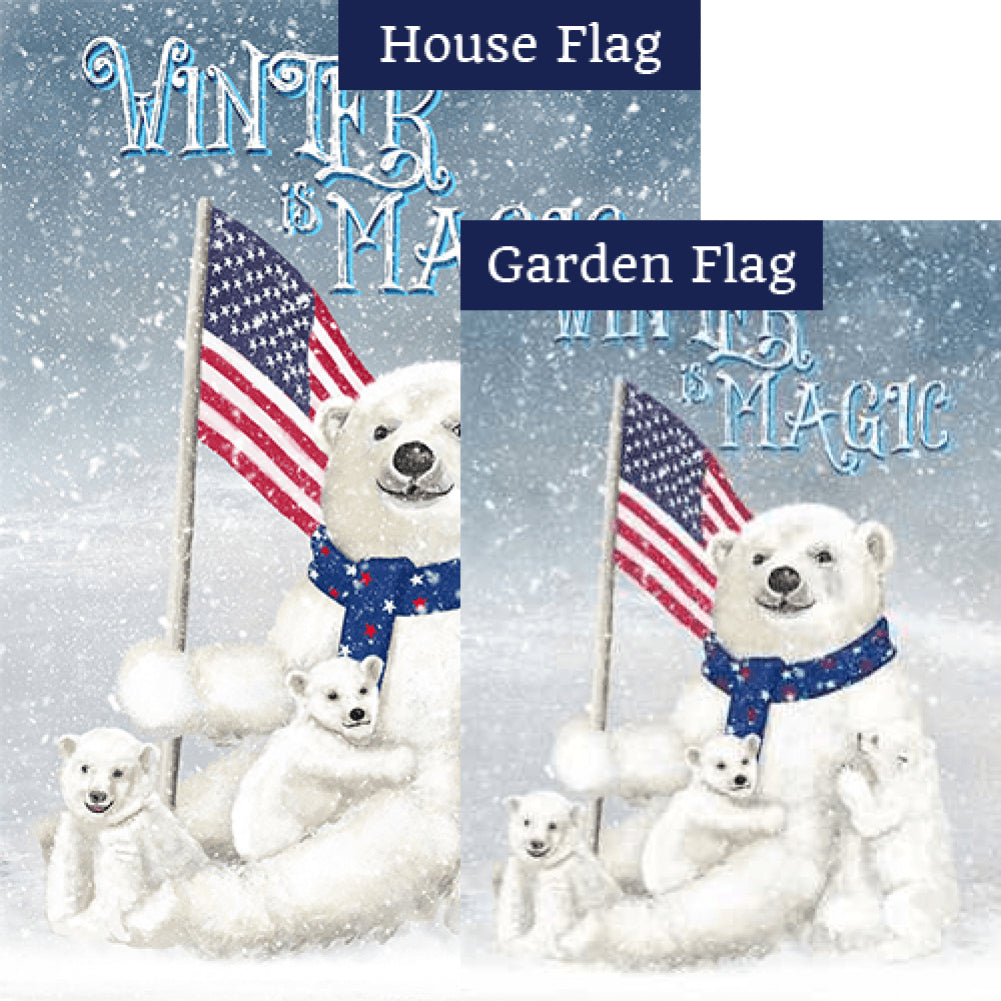 Polar Bear Snow Family Double Sided Flags Set (2 Pieces)
