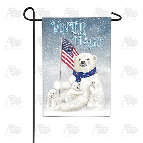 Polar Bear Snow Family Double Sided Garden Flag