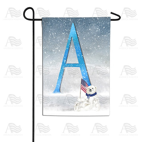 Polar Bear Snow Family Double Sided Monogram Garden Flag