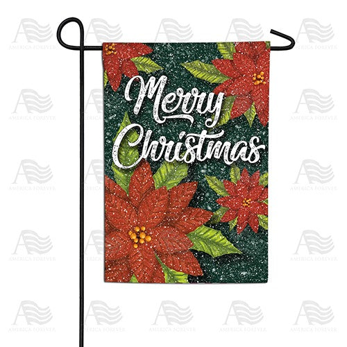 Snowy Poinsettias Double Sided Garden Flag