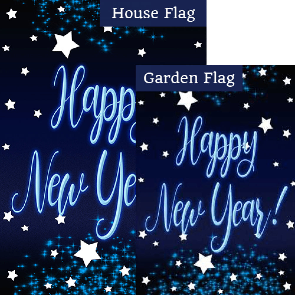 New Year Starlight Double Sided Flags Set (2 Pieces)