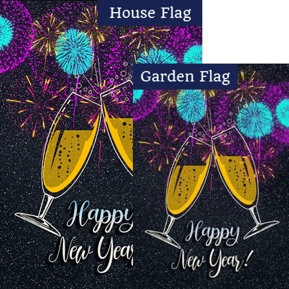 New Year Cheers Double Sided Flags Set (2 Pieces)