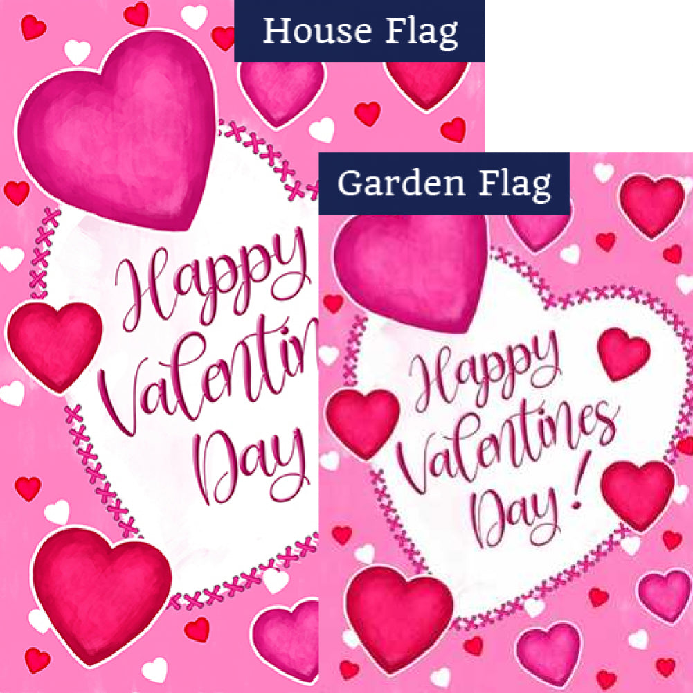 Happy Valentine's Day Hearts Double Sided Flags Set (2 Pieces)