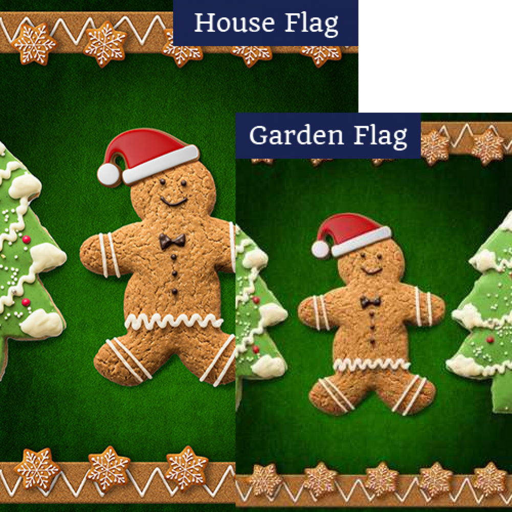 Santa Gingerbread Man Flags Set (2 Pieces)