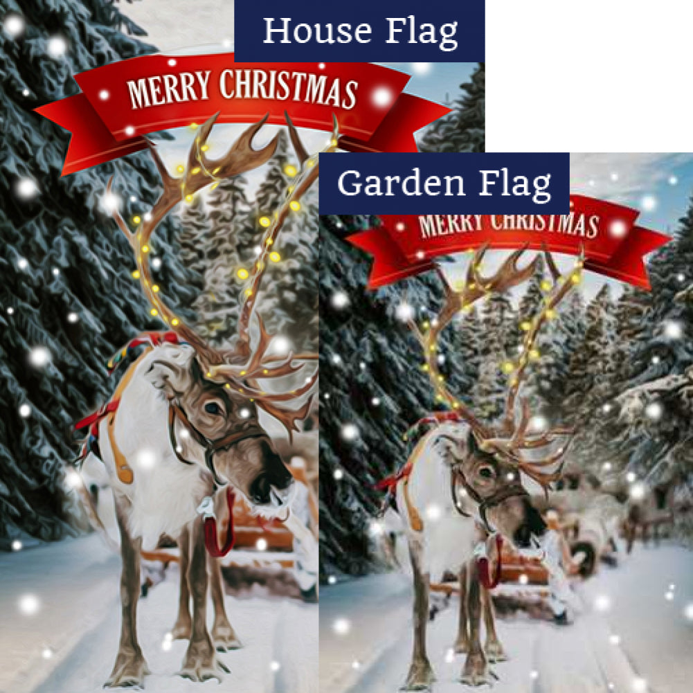 Sleigh Ride Christmas Flags Set (2 Pieces)