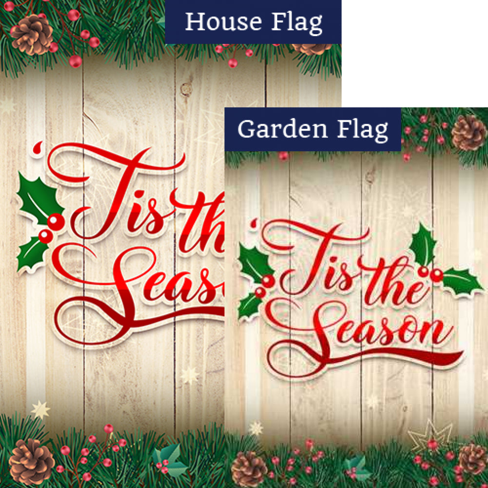 Tis The Season Holly & Pine Cone Flags Set (2 Pieces)