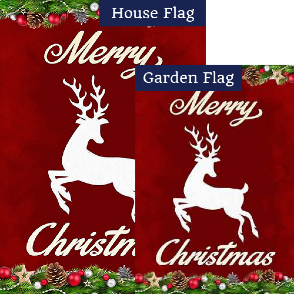 Merry Christmas White Deer Flags Set (2 Pieces)