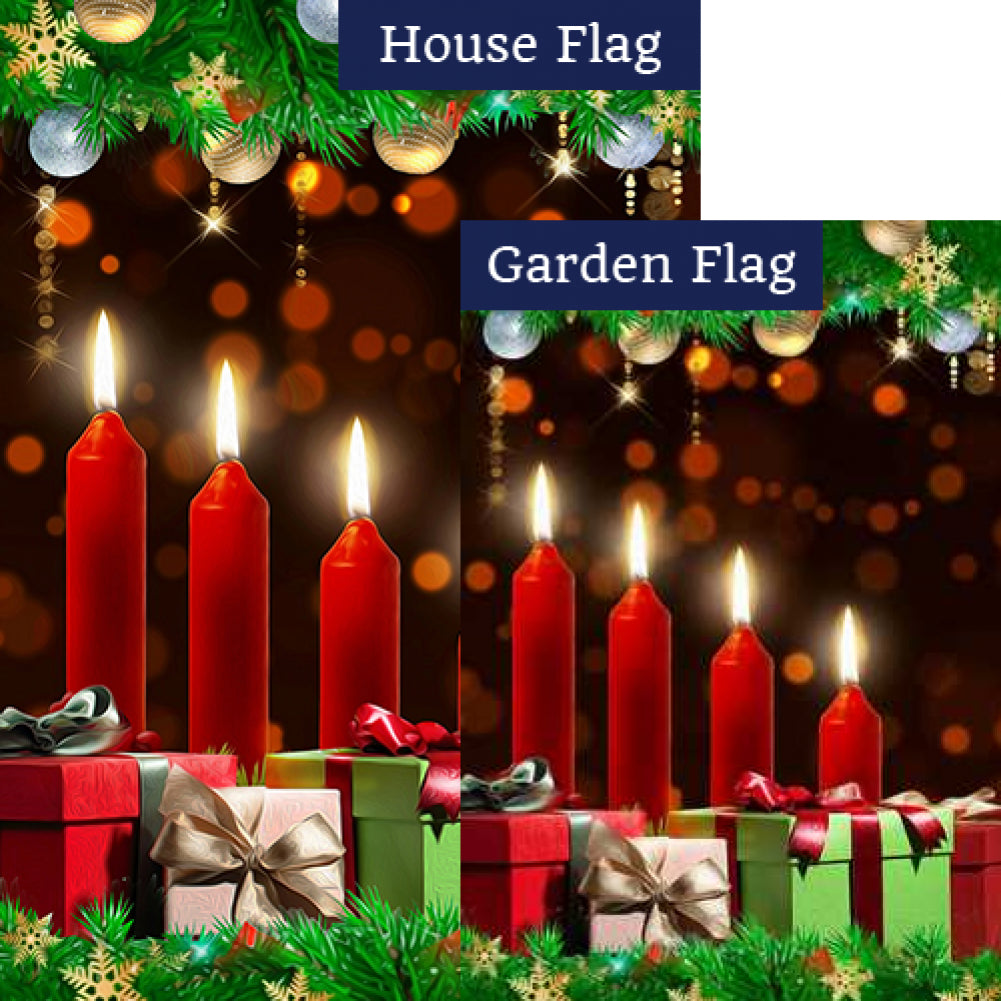 Christmas Candles Aglow Flags Set (2 Pieces)