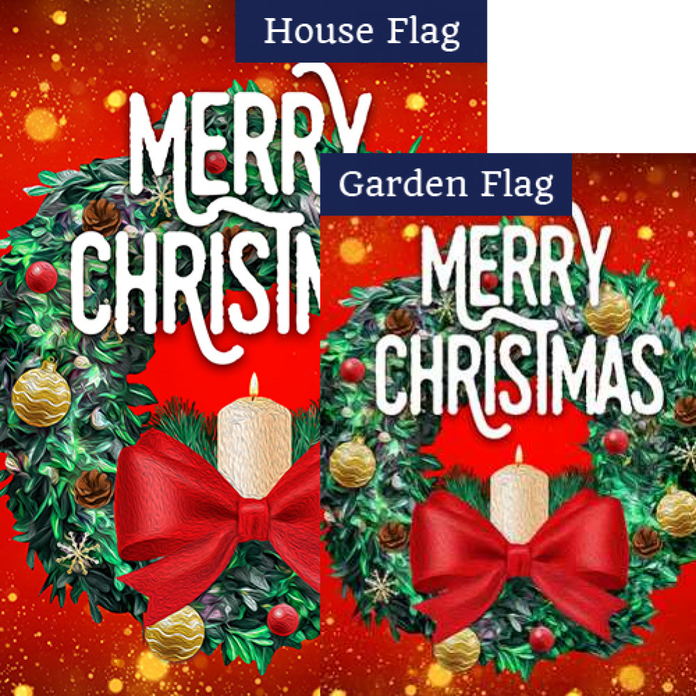 Merry Christmas Candle Wreath Flags Set (2 Pieces)