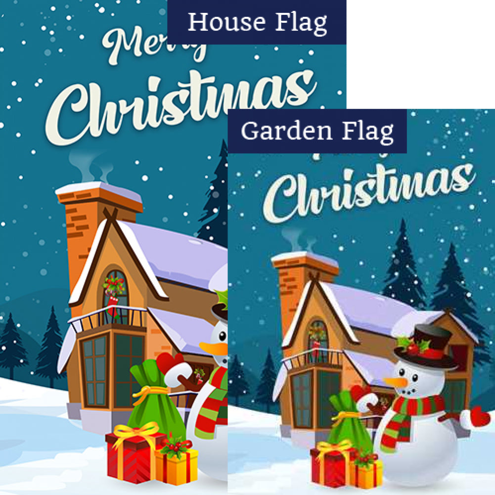 Merry Christmas Snowman Flags Set (2 Pieces)