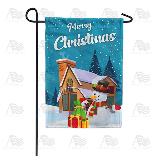 Merry Christmas Snowman Double Sided Garden Flag