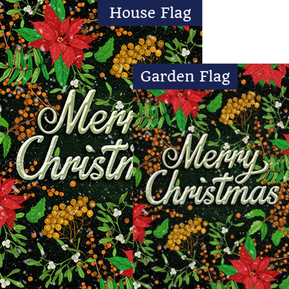 Merry Christmas Poinsettias Flags Set (2 Pieces)