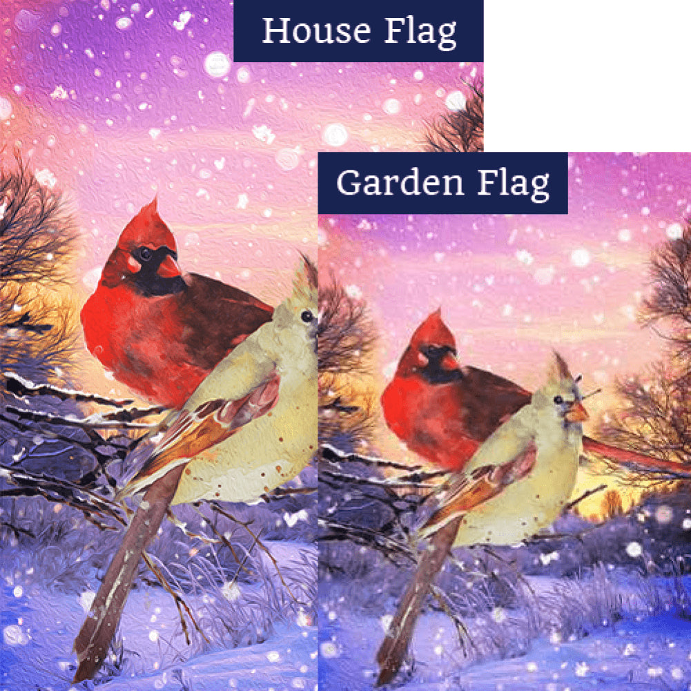 Winter Cardinals Painting Flags Set (2 Pieces)