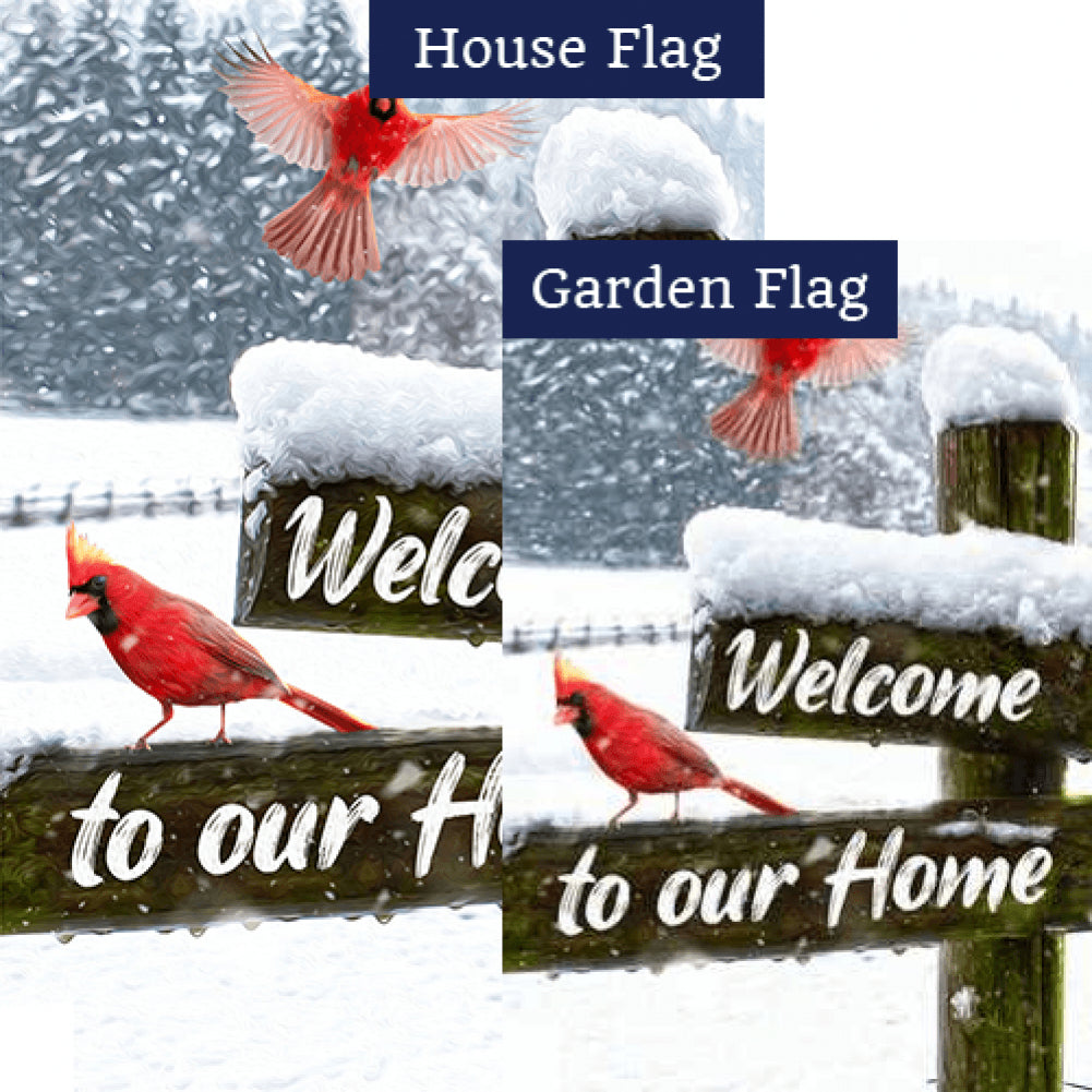 Cardinals Winter Welcome Flags Set (2 Pieces)