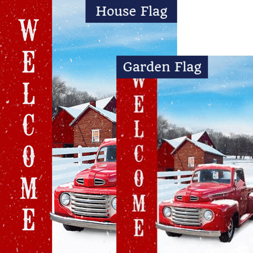 Red Truck Winter Welcome Flags Set (2 Pieces)
