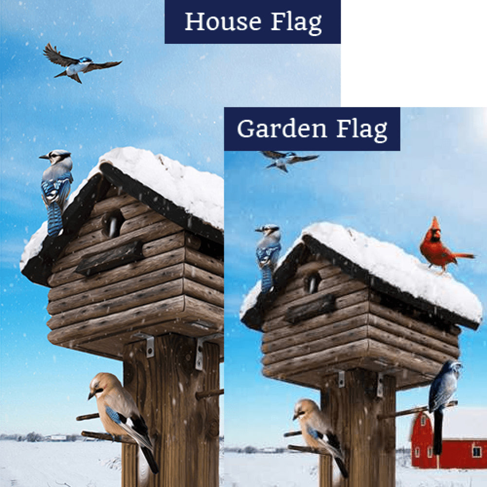 Birds Gather At Winter Home Flags Set (2 Pieces)