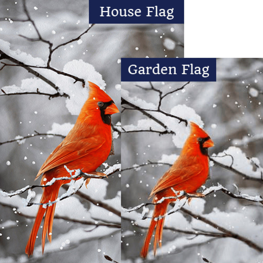 Cardinal On Snowy Branch Flags Set (2 Pieces)