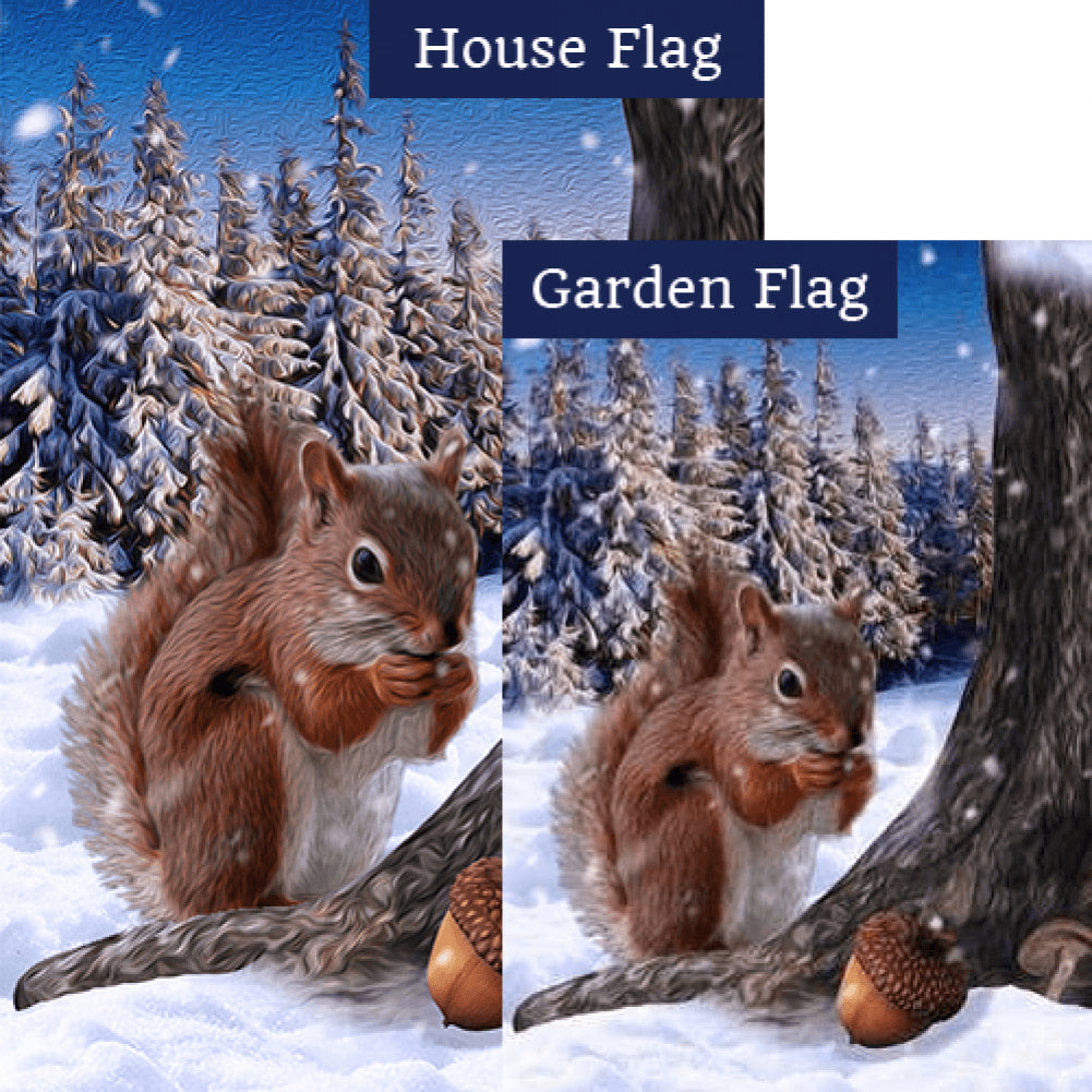 Squirrel Enjoying Fall's Stash Flags Set (2 Pieces)
