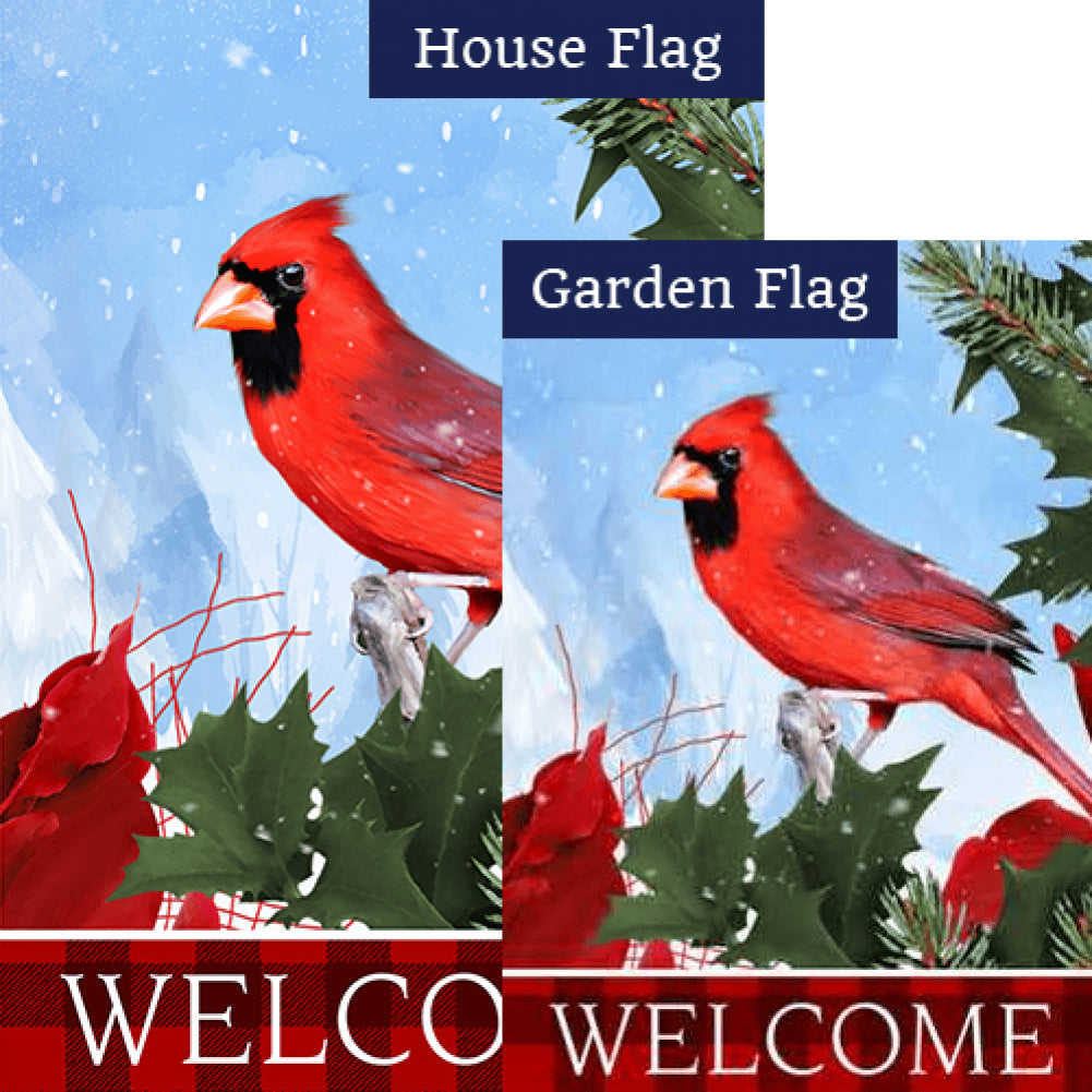 Cardinal Red Plaid Welcome Flags Set (2 Pieces)