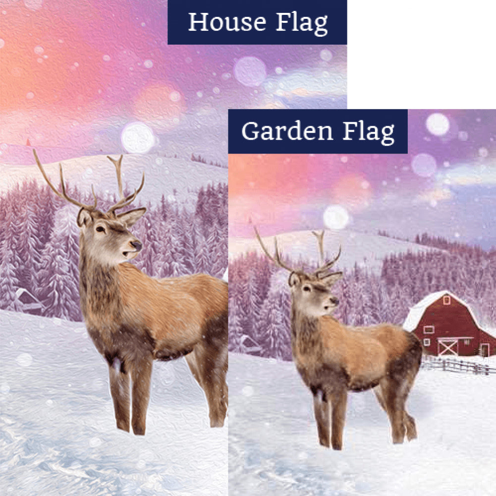 Young Elk's First Winter Flags Set (2 Pieces)