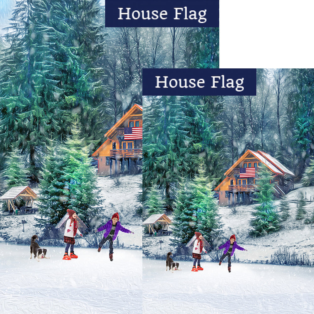 Winter Fun On The Lake Flags Set (2 Pieces)
