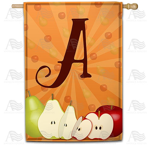 Apples & Pears Monogram House Flag