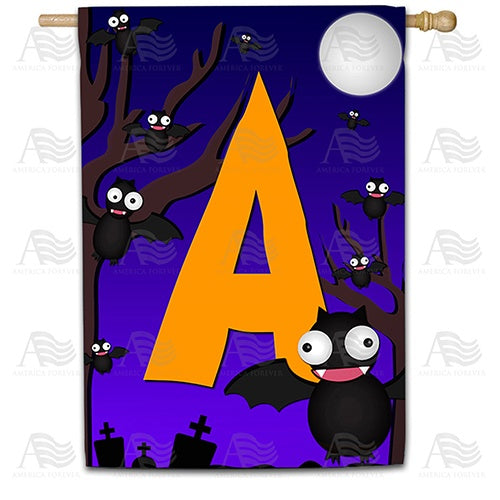 Crazy Bat Party Monogram House Flag