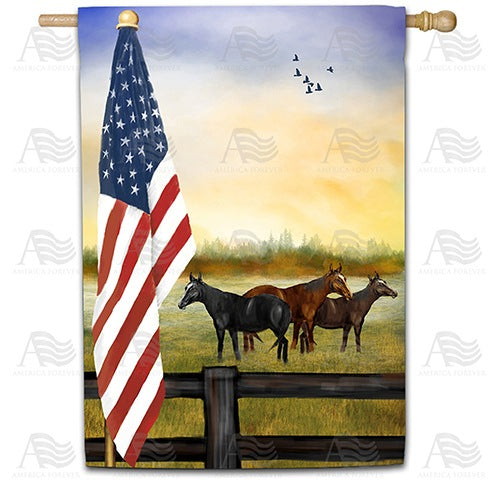 American Country Sunrise Double Sided House Flag