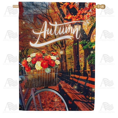 Autumn Night Bike Ride Double Sided House Flag