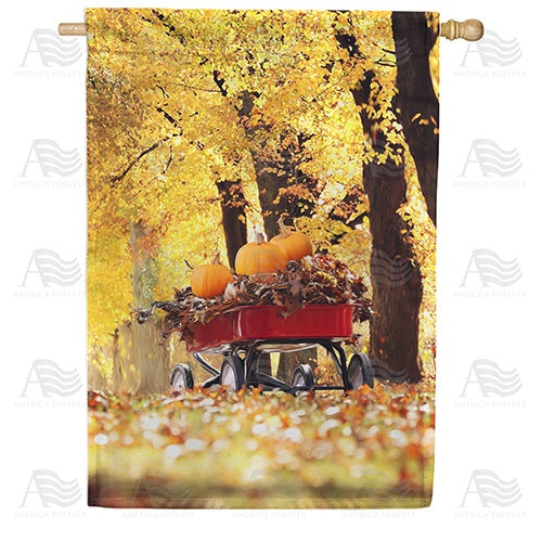 Fall Red Wagon Double Sided House Flag