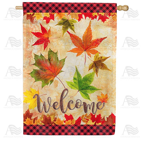 Fall Leaves Welcome Autumn Double Sided House Flag