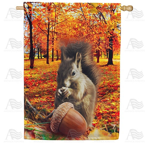 Fall Squirrel Finds Acorn Double Sided House Flag
