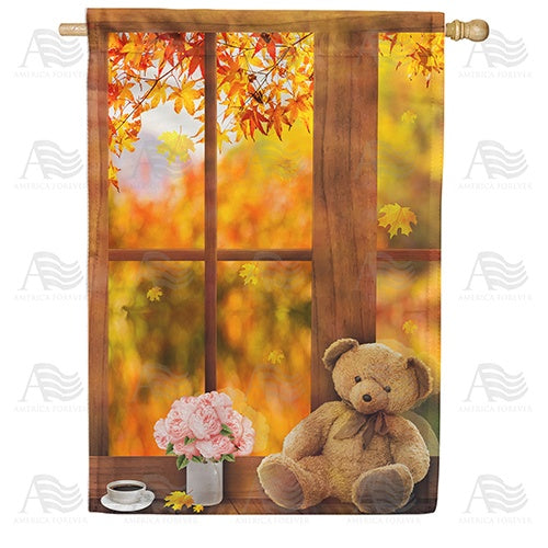 Relaxing Fall Day Double Sided House Flag
