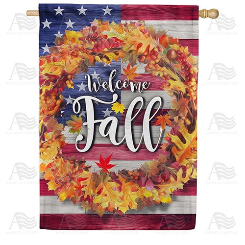 Patriotic Fall Welcome Double Sided House Flag