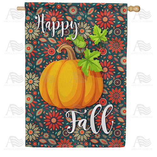 Happy Fall Leaves Double Sided House Flag