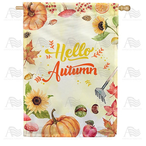Hello Autumn Double Sided House Flag