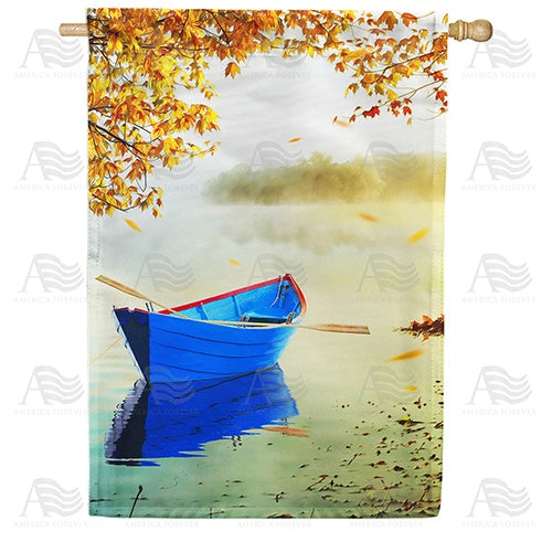 Fall Morning At Lake Double Sided House Flag