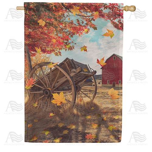 Old Wooden Farm Cart Double Sided House Flag