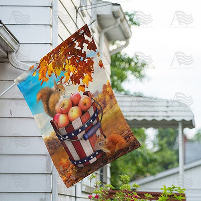 Fall Squirrels With Apple Bounty Double Sided House Flag
