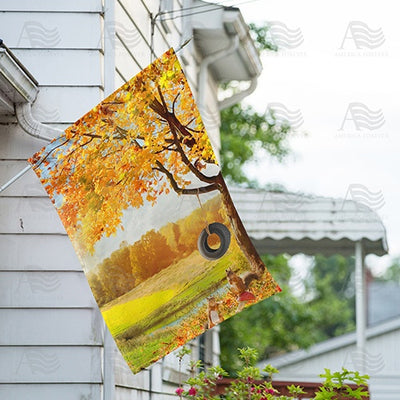 Fall Squirrel Playground Double Sided House Flag