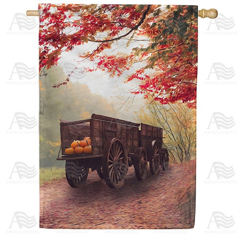Old Pumpkin Wagon Double Sided House Flag