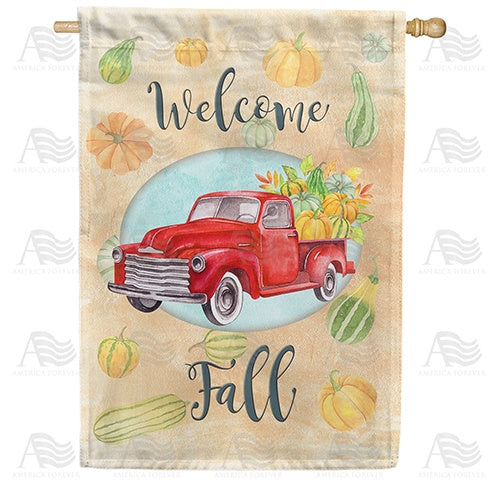Welcome Fall Red Truck Double Sided House Flag