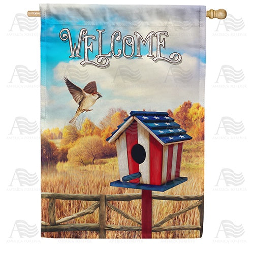 Flight To Patriotic Birdhouse Double Sided House Flag